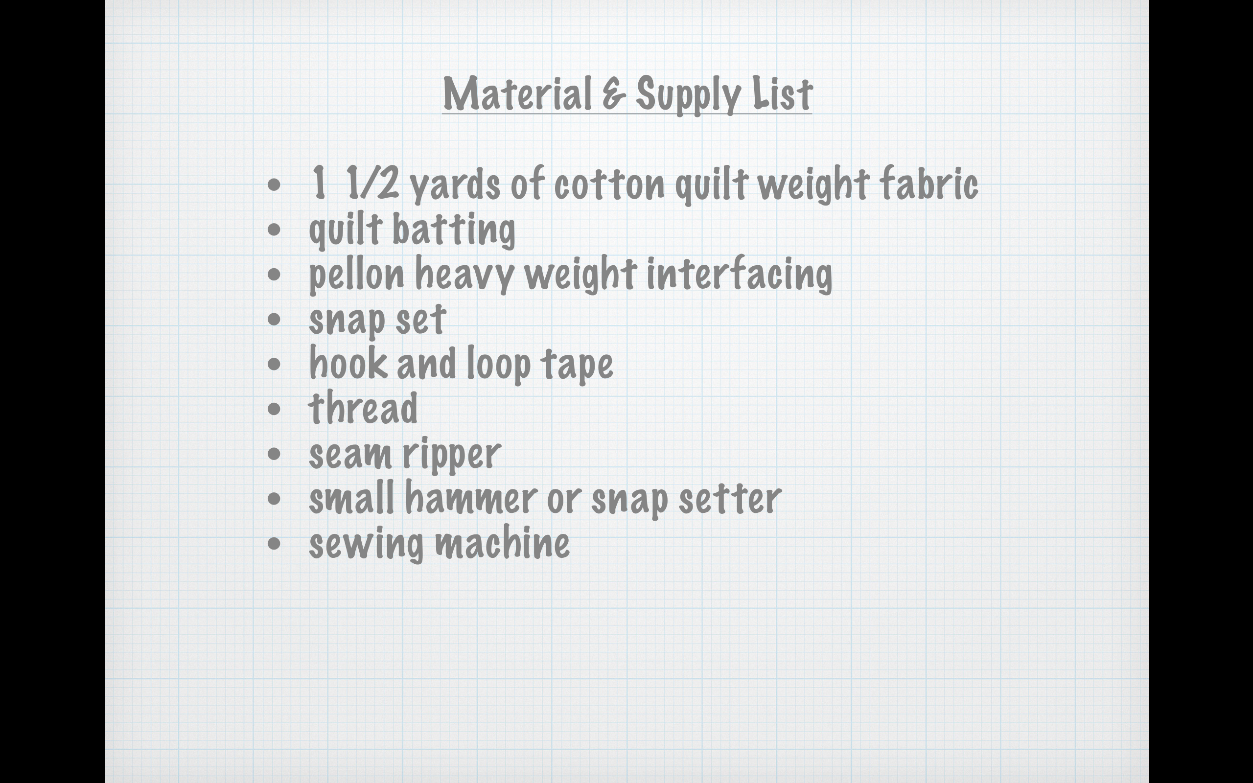 Material & Supply List