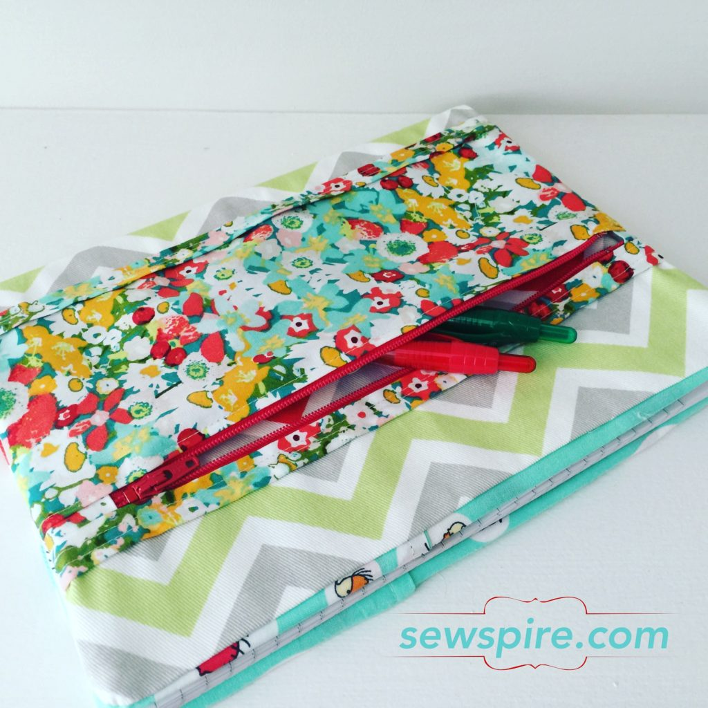Book Cover Sewing Zippers : Notebook cover with zippered pocket sewspire