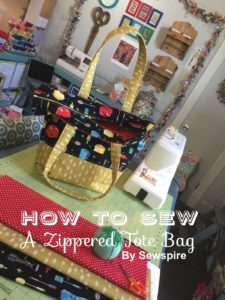 How to Sew A Retro Zippered Tote Bag by Sewspire