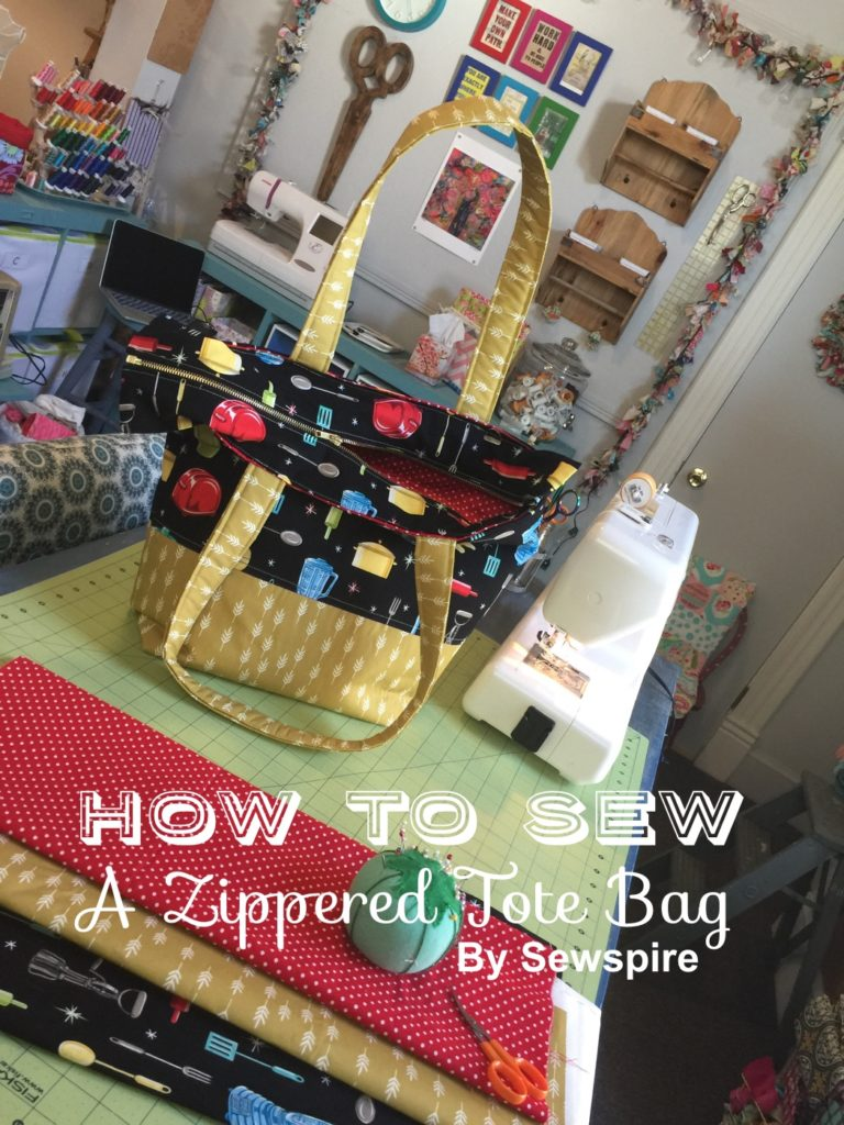 How to sew a retro zippered tote bag with removable purse organizer