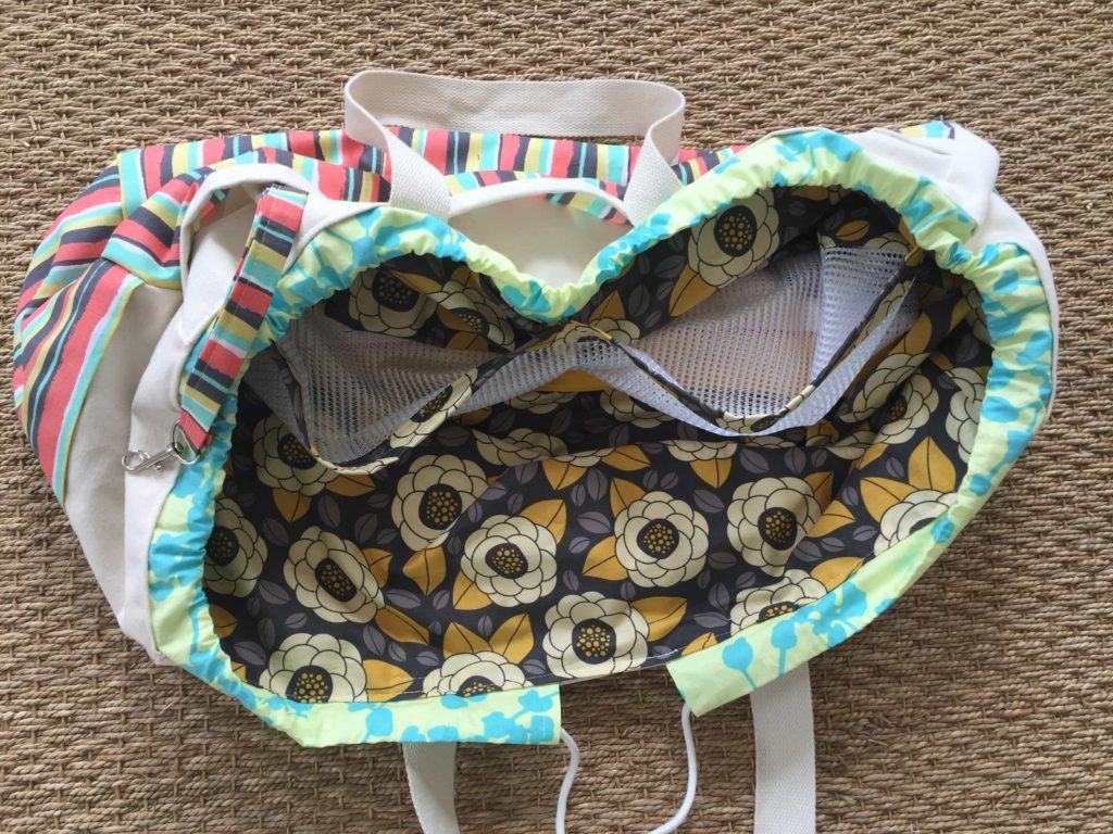 How to sew a large drawstring beach bag tote