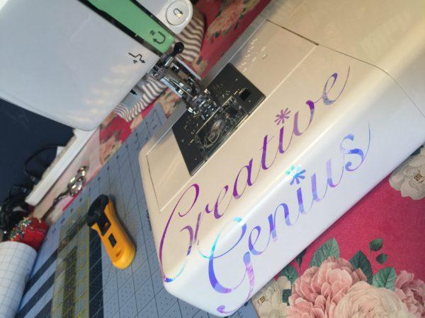 Creative Genius Sewing Machine Decal Sticker