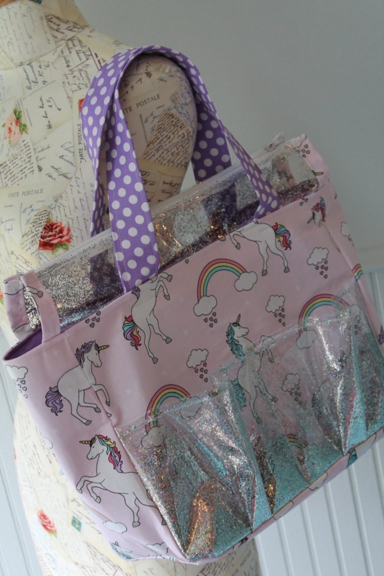 How to sew a glittery unicorn zip top tote bag