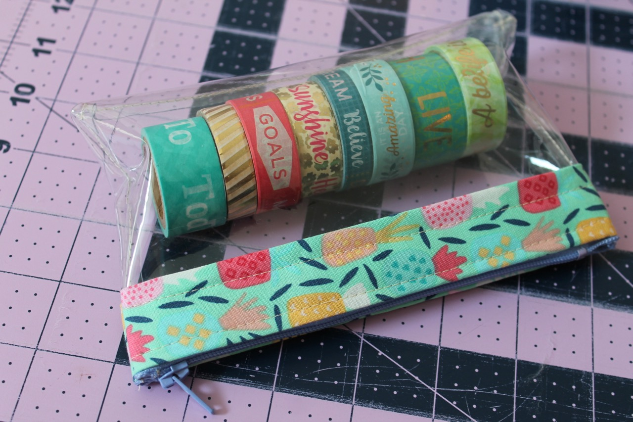 How to sew a clear vinyl bag with zipper top for washi tape