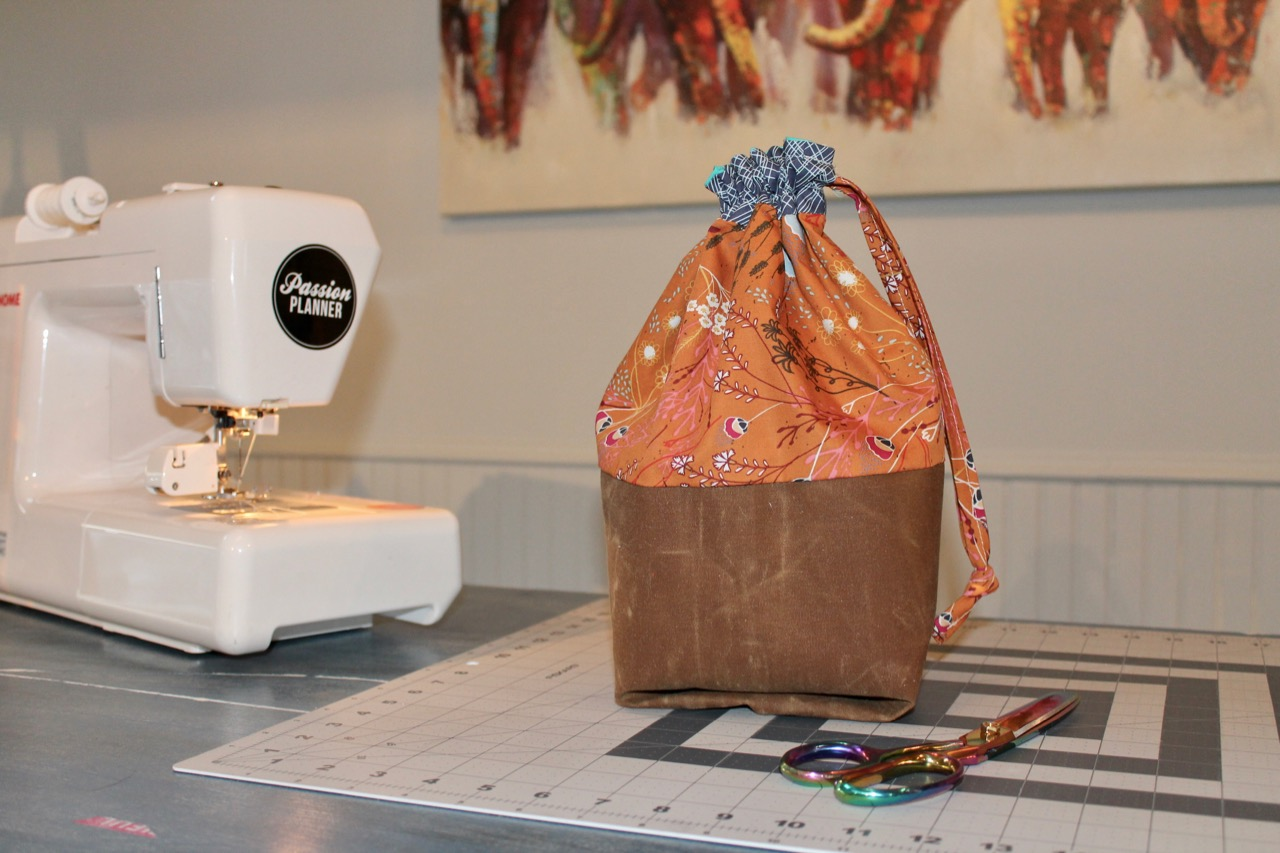 How to sew a drawstring bag with waxed canvas base by Sewspire