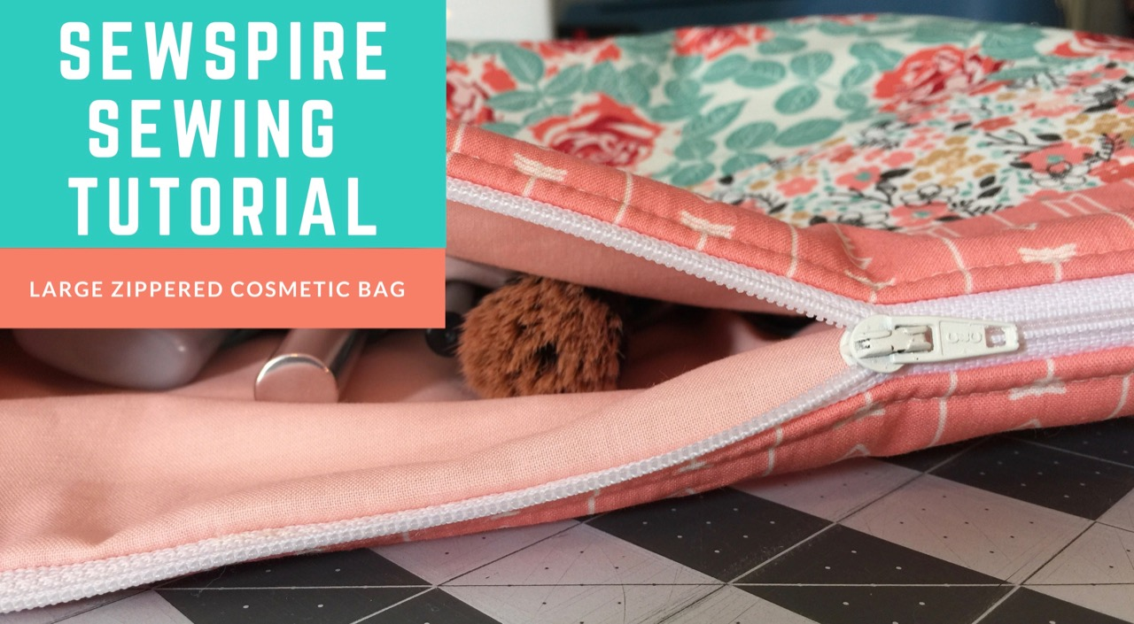 How to sew a large cosmetic bag with zippered top